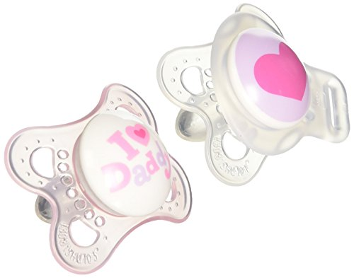 MAM Love & Affection Orthodontic Pacifier with Clip Value Pack, I Love Daddy, Girl, 0-6 Months, 2-Count