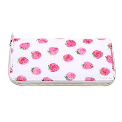 with Holder Zipper Leather Card Pattern Wallet Flamingos Long Pattern Girls Purse Clutch Cartoon Women Pu Flybloom Strawberry Pattern Handbag 6vAqxOq