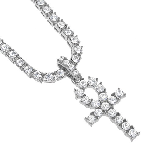 - Clearance Sale!! WYTong Hip Hop Style Rhinestone Key Cross Pendant Jewelry Crystal Necklace for Men Women (Silver, 20)