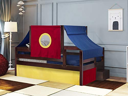 JACKPOT! Castle Twin Bed with Step Red Blue and Yellow Tent & Curtains, Cherry