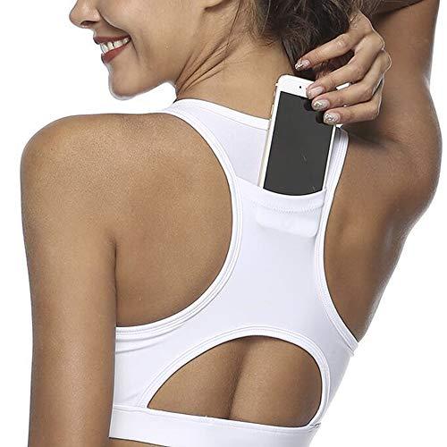 (Snailify Women's Sports Bra Phone Pocket Racerback Full Coverage Wireless Bra Shock Proof - Active Wear Yoga Gym Workout,White)