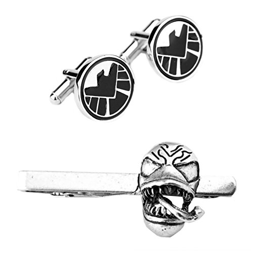 Outlander SHIELD Cufflink & Venom Tiebar - New 2018 Marvel Studios Superhero Movies - Set of 2 Wedding Logo w/Gift Box by Outlander