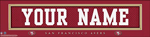 San Francisco 49ers NFL Jersey Nameplate Wall Print, Personalized Gift, Boy's Room Decor 6x22 Unframed Poster