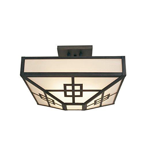 Black Finish Steel Partners Lighting BAV2155-P-B BAVARIAN MOOSE Pendant with Amber Mica Lens
