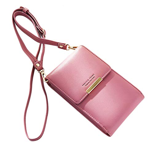 Women Small Crossbody Bag Lovely Shoulder Bags For Girls Compact Handbag with Adjustable Crossover Strap Magnetic Button iPhone Samsung 6.3 Inch 267-warmpink