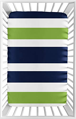 Sweet JoJo Designs Navy Blue and Green Baby Boy Fitted Mini Portable Crib Sheet for Stripe Collection - for Mini Crib or Pack and Play ONLY ()