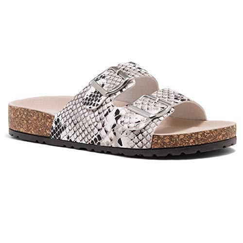 HerStyle Softey Women's Comfort Buckled Slip on Sandal Casual Cork Platform Sandal Flat Open Toe Slide Shoe Black/WhiteSNK 6.0