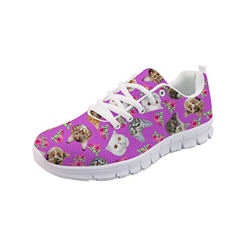 Lightweight 7 Shoes Floral Tennis Flexible for Walking Coloranimal Sneakers Women Casual Running Cat S7qxpO51