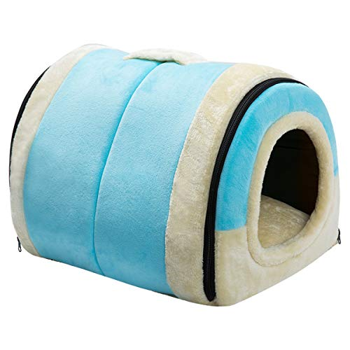 Hollypet Crystal Velvet Self-Warming 2-in-1 Foldable Cave House Shape Nest Pet Sleeping Bed for Cats and Small Dogs, Light Blue