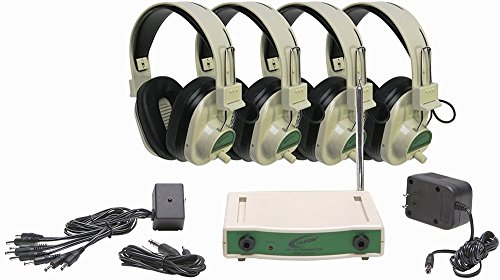 Califone CLS729-4 4-Person Wireless Learning System, Includes: CLS729 Four Green Wireless Headphones and CLS729T Transmitter, Frequency 72.900 mHz, 100' wireless reception range from transmitter ()