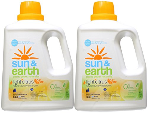 Sun & Earth Natural Laundry Detergent, 2x Concentrated, Light Citrus Scent, 100 Ounce (Pack of 2) by Sun & Earth