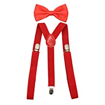 JAIFEI Men's Adjustable Strong Clip-on Suspender & Bow Tie Set for Wedding (Red)