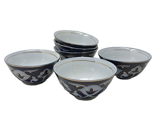 Cobalt Blue Tea Piala Cups Pakhta Cotton Flower Pattern, SET