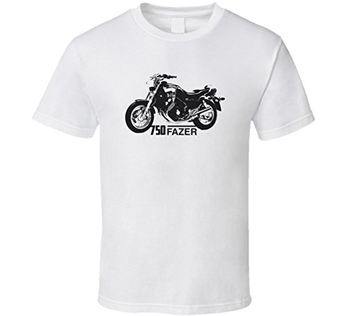 CarGeekTees.com 750 Fazer Motorcycle Side View with Model Light Color T Shirt L White