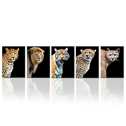 - Hello Artwork Printed Posters and Prints Animals Tiger Leopard Lion Picture Wall Art on Canvas for Living Room Home Decor Stretched on Wooden Frame Gallery Artwork Canvas Set of 5 Ready to Hang