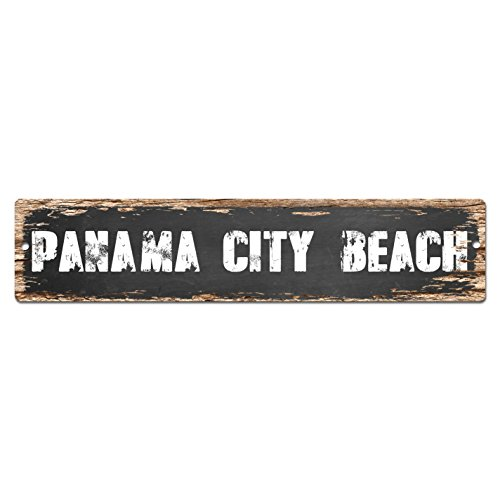 PANAMA CITY BEACH Plate Sign Vintage Rustic Street Sign Beach Bar Pub Cafe Restaurant shop Home Room Wall Door Decor - Beach City Shop