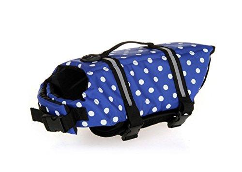RiseSunUS Life Jackets for Dog, Safety Reflective Vest Pet Life Jacket - Adjustable Belt for All Size Dogs (L, Blue Polka Dot)