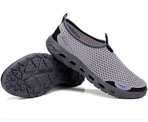 (Men's Mesh Slip On Barefoot Quick-Dry Aqua Water Shoes for Swimming Surf Yoga Hiking Sport)