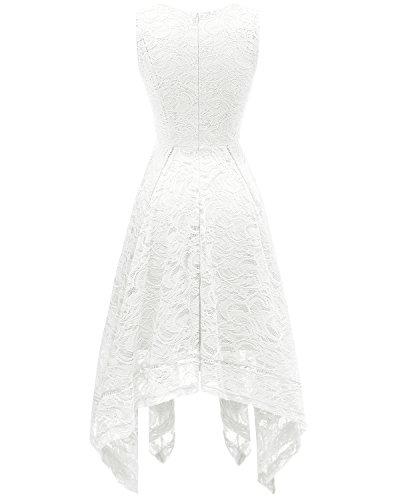 Dentelle col sans de d'honneur asymtrique Cocktail de en Robe Demoiselle Bridesmay de Robe Manches White V soire Pw6z6