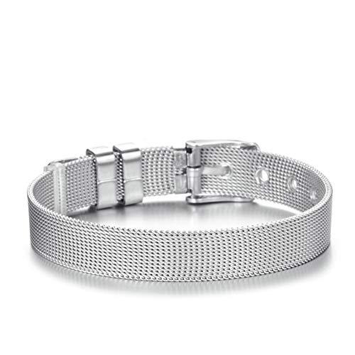 (HUSHOUZHUO Best 10Mm Adjustable Belt Buckle Chain Women Men Bracelet Stainless Steel Mesh Bracelet Fit DIY Brand Bracelet for Lovers)