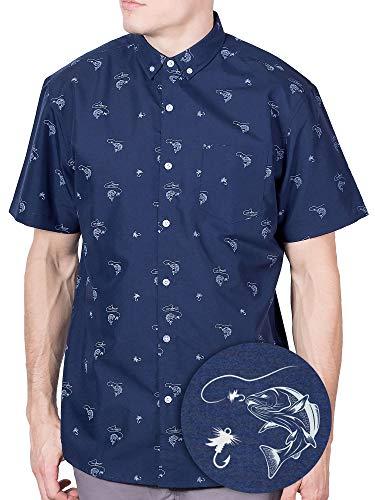 Navy Fish - Visive Hawaiian Shirt Short Sleeve Button Down Up Shirts for Mens Navy Fish,Small