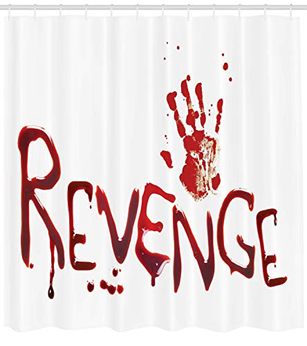Ambesonne Horror Shower Curtain, Handprint Revenge with Splashed Blood Crime Help me Horror Creepy Scary Grunge Style, Cloth Fabric Bathroom Decor Set with Hooks, 70