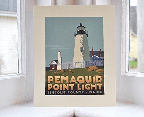 Pemaquid Point Light, Maine Print (8x10 Lighthouse Travel Poster, Wall Decor Art)