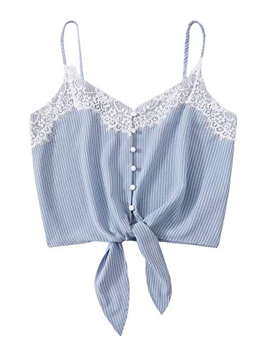 SheIn Women's Lace Trim Button Tie Knot Front Striped Strappy Crop Cami Tank Top X-Small Blue
