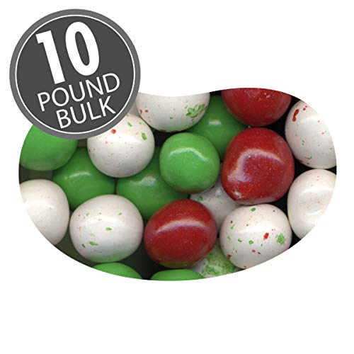Jelly Belly Red, White and Green Holiday Chocolate Malt Balls, 10 Pounds