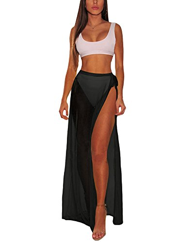 XAKALAKA Women's Sheer Slit Sarong Sexy Swimwear Cover up Belted Wrap Maxi...