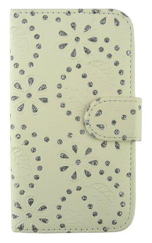 Emartbuy® Sparkling Stylus Pack Para Samsung Galaxy S3 Mini I8190 Diamante Blanco Con Ranuras Para Tarjetas De Crédito + Sparkling Plata Metallic Stylus + Protector De Pantalla Caja De La Carpeta / Cu