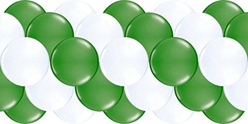 Partydiscount24 Luftballongirlande Grün & Weiß 100 Meter