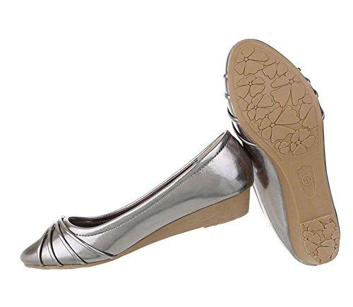 Klassische Damen Ballerinas | spitze Flats | Bequeme Partyschuhe | Hochzeit Abiball Slipper | Ballerina Schuhe Schleife | Slippers Spitze Stoff | Slip on Schleifen | Schuhcity24 Grau