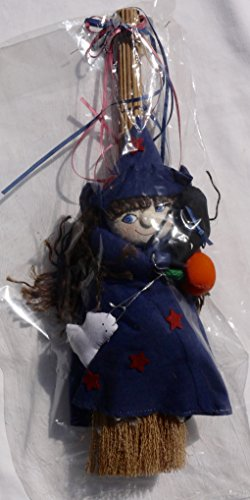 Witch Broom Pumpkin (Decorative Halloween Blue Witch On Broom Holding Pumpkin, Ghost and)
