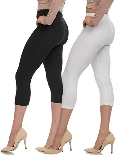Extra Soft Capri Leggings with High Wast - 20 Colors - Plus (One Size, Two Pack (Black-White))