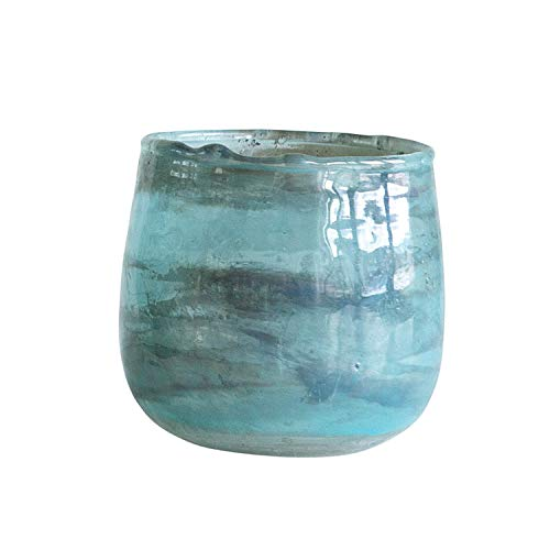 Creative Co-Op Small Glass Votive Holder in Aqua Marble Finish