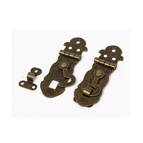 Clasp Box Large (uxcell Antique Style Case Lock Chest Box Clasp Hasp Latch Bronze Tone 2pcs)
