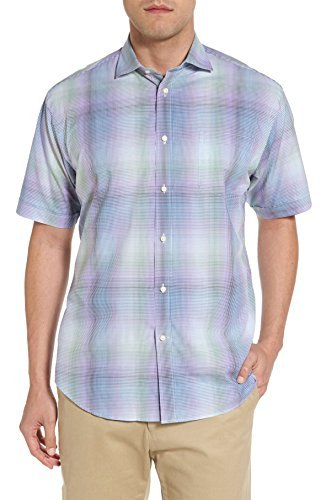 - Thomas Dean Men's Classic Fit Shadow Check Sport Shirt- Purple (Extra Large)