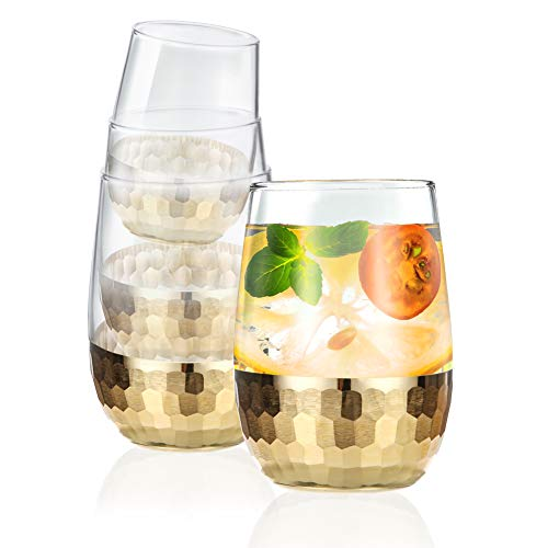 Cicike Updated Luxury Stemless Red Wine Glass Set, Gold Honeycomb Finish on Bottom, Easy to Hold, Perfect for Whiskey, Mixed Drinks, or Sparkling Water and Soft Drinks, 8oz/240ml Each (Set of 4)