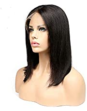 SODIAL Short Bob Wig Brazilian Remy Hair Straight Lace Front Human Hair Wigs for Black Women Natural Color Lace Wig