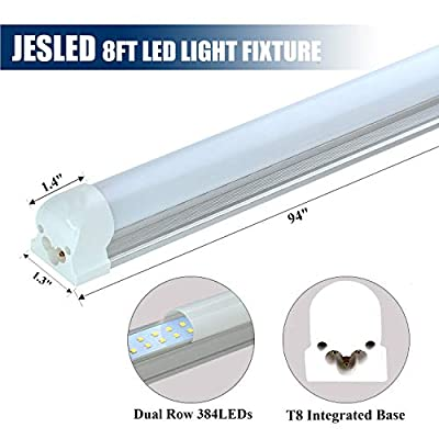 JESLED 8FT 72W 6000K LED Shop Light Fixture, 6000K Cool White, Frosted Cover