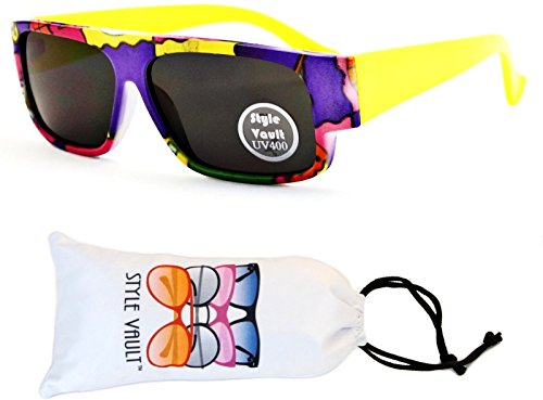 KD3067-VP Style Vault Kids(0-12 months) Flat Top Sunglasses (B2487F #6 Neon Yellow Arms, - Baby Sunglasses Months 12 6