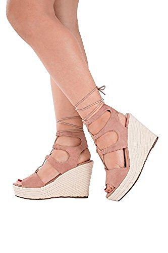 Womens Schwarz Beige Strappy Lace Up Peep Toe Wedge Sandalen Fersen EU Größen 36-41 Beige