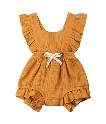 (Qiylii Infant Baby Girl Ruffle Sleeve Romper One-Piece Bowknot Cotton Bodysuit Jumpsuit Outfit Clothes (0-6 Months,)