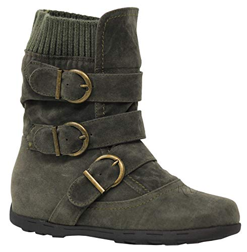 MVE Shoes Women's Mid Calf Strappy Fashion Boots, ELMA-01 Olive 8