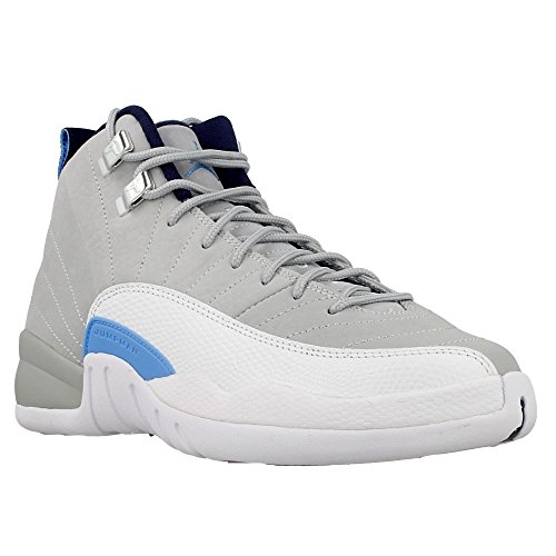 JORDAN 12 Retro Big Kids Style, Wolf Grey/University Blue/Mid Navy, 7 by Jordan