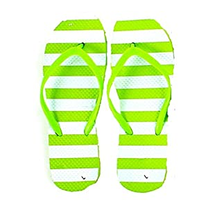 DollarMaxVI Women's Flip Flops Striped Pastel Green (X-Large)