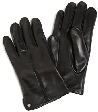 Joseph Abboud Men's Smooth Leather Glove with Hand Stitching On Back, Black, Medium