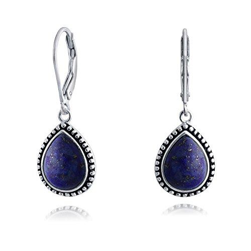 Teardrop Dyed Blue Lapis Lazuli Bezel Set Leverback Earrings 925 Sterling Silver Bali Milgrain Style Drops