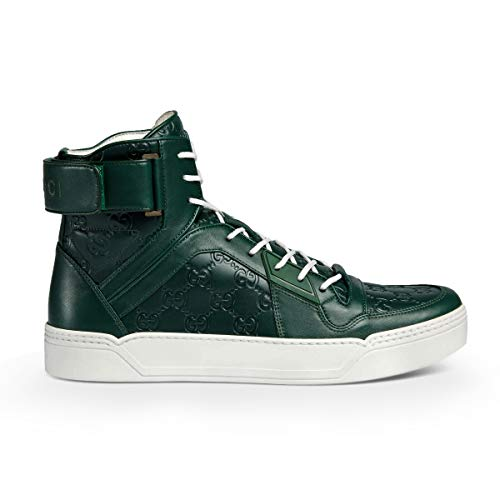 e GG Leather Basketball High-Top Sneaker, Green (Verde) 431141 (8.5 US / 8 UK) ()